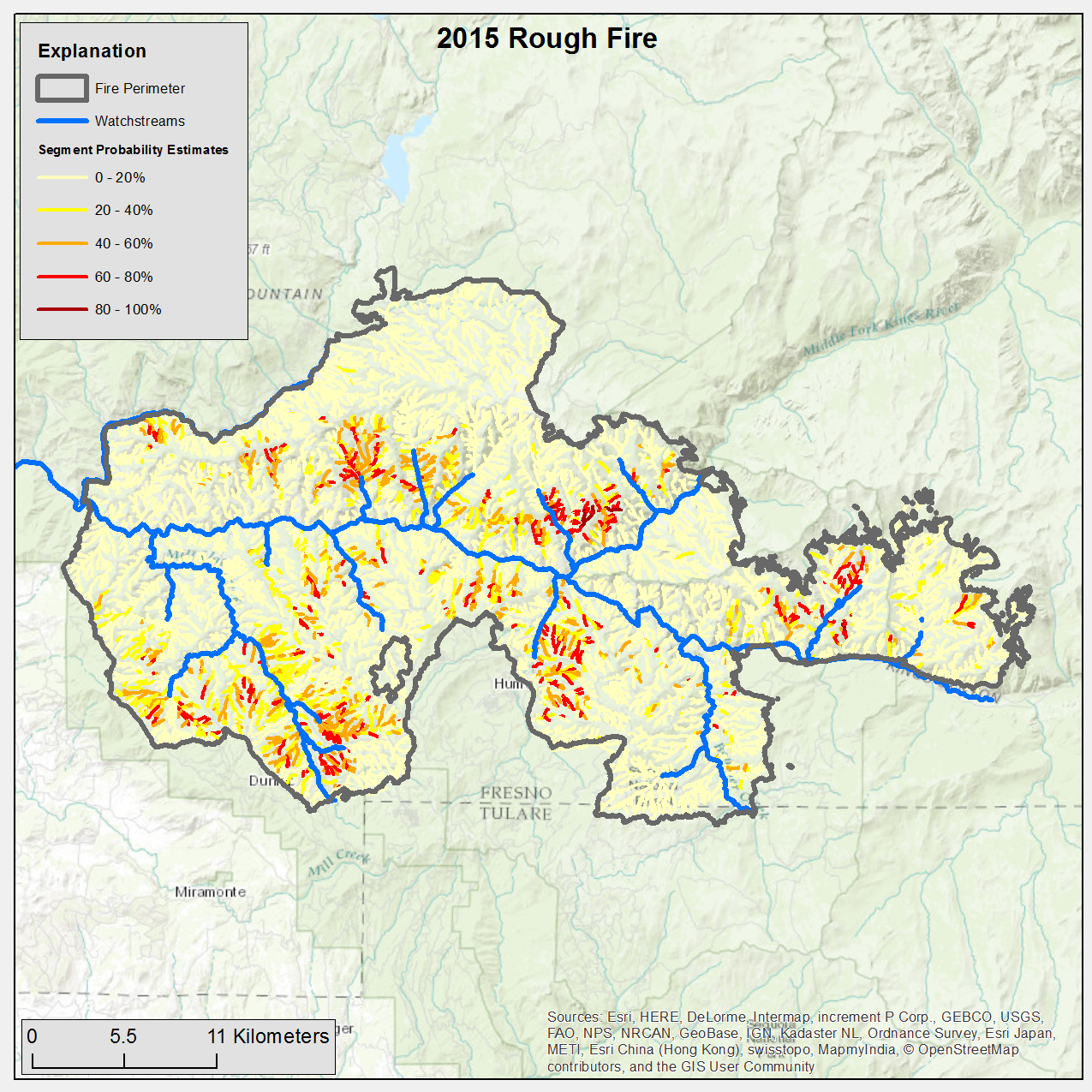Map Of California Fresno.Emergency Assessment Of Post Fire Debris Flow Hazards